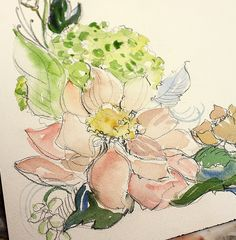 loose watercolor and ink flowers, wonderfully detailed, but secretly repeated in mass