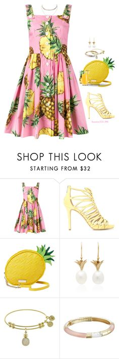 """Pineapple Print 🍍"" by houston555-396 ❤ liked on Polyvore featuring Dolce&Gabbana, Jimmy Choo, Annette Ferdinandsen, Alexis Bittar and nOir"