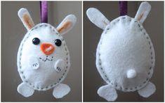 Smuleblogg: Påskesyssel - hjemmelaget påskepynt Easter Crafts, Rabbit, Felt, Christmas Ornaments, Holiday Decor, Diy, Kunst, Bunny, Rabbits