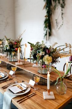 tulip centerpieces - photo by Katie Harmsworth Photography http://ruffledblog.com/mixed-metals-wedding-inspiration