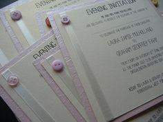 Vintage Button theme Wedding invitations