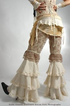 Pants, YOUR SIZE, Creams and Lace Combo,  Dance, Ruffles, Black Rock, Steampunk,Tribal, Bellydance, Goth, Exotic, Dance
