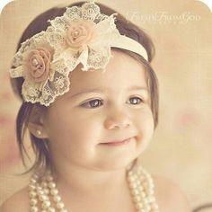 Flower girl headband and pearls! So cute!!