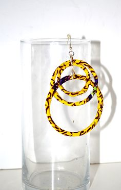 Yellow African Ankara Print Dangling Hoop Earrings, Ankara Earrings, African tribal earrings,Women Earrings, Green Earrings By Zabbadesigns