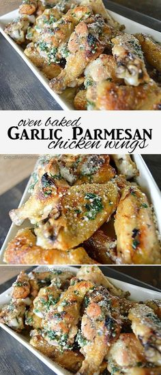 garlic parmesan chicken wings tailgating party appetizers snacks easy oven baked potluck dinner meal food foodie delicious chicken crispy pretty food chicken wings football game day moms kids dads guys girls family Very good. Potluck Dinner, Dinner Meal, Potluck Ideas, Party Appetizers, Appetizer Recipes, Party Snacks, Avacado Appetizers, Prociutto Appetizers, Mexican Appetizers