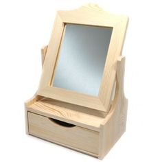 Toaletka z lustrem i szufladą drewno DECOUPAGE