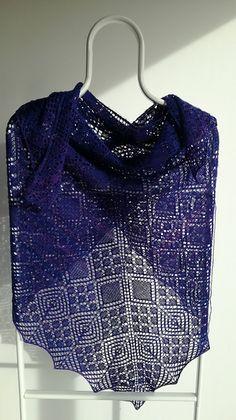 Luminita Shawl by Jolanta Zwierzchowska, knitted by terevalencia   malabrigo Lace in Purple Mystery