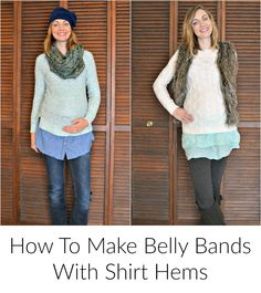 How to make maternity belly bands with shirt hems // DIYmaternity.com