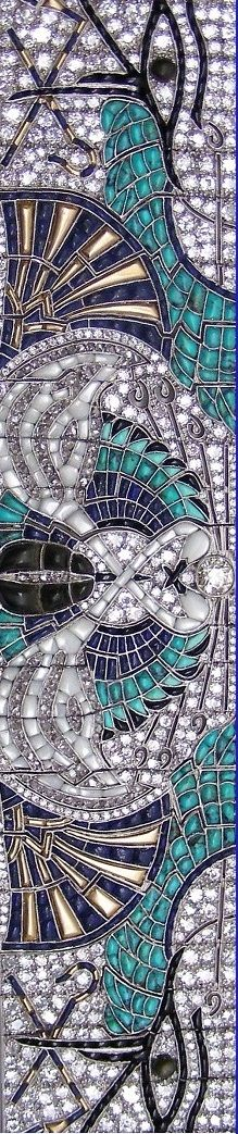 Closeup ~ An Art Deco Egyptian Revival platinum, gold, enamel, diamond and onyx bracelet, by Lacloche Frères. #Lacloche #ArtDeco #EgyptianRevival