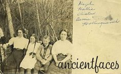 """""""This picture shows four of the five children of Charles and Lucy Hollingsworth.""""  People:  Hazel Hollingsworth, Hallie Hollingsworth, Clinton L. Hollingsworth, and Bessie L. Hollingsworth.  (Image:  Contributed by Shirley Patterson on August 11, 2003; """"Photo taken at Oregon, United States"""")"""