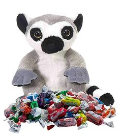 Lemur Stuffed Animal with Frooties Candy, Snack Back Buddy Gift Set, Plush Toy with Treat, One Bag, 6 Ounces Lemur, One Bag, Gift Store, Plush, Teddy Bear, Treats, Candy, Snacks, Toys
