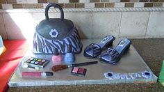 Purse and shoe cake with fondant makeup