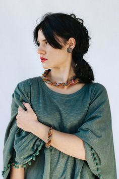 Fall Jewellery  African Fabric And Brown Velvet Twisted by nad205