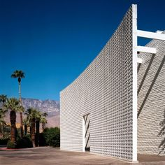 A brise soleil flanks the entrance of the Parker Palm Springs. Tagged: Exterior, Mid-Century Building Type, Concrete Siding Material, and Flat RoofLine. Photo 2 of 7 in Jonathan Adler Reveals His Redesign of the Parker Palm Springs. Palm Springs Hotels, Parker Palm Springs, Palm Springs Style, Infinity Pools, Bungalows, Parker Hotel, Palm Springs Mid Century Modern, Modernism Week, Mid Century Modern Design