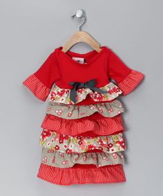 Red & Gray Ruffle Dress - Infant | Daily deals for moms, babies and kids