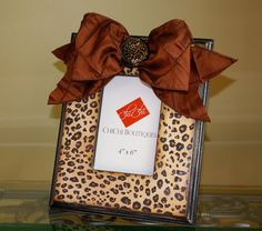 Leopard Print Picture Frame with Ribbon by chichiboutiques on Etsy, $30.00