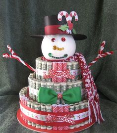 """DIY your Christmas gifts this year with GLAMULET. they are 100% compatible with Pandora bracelets. MONEY CAKE """"Christmas Snowman"""" Christmas Money Cake- A Fun Unquie Way to Give Money as a Gift to Celabrate the Holiday Season! by creativecreationsmc. Explore more products on http://creativecreationsmc.etsy.com"""