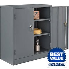 Jumbo Storage Cabinet INVIE Black Steel SnapIt Storage Cabinet with 2 Adjustable Shelves Counter Height