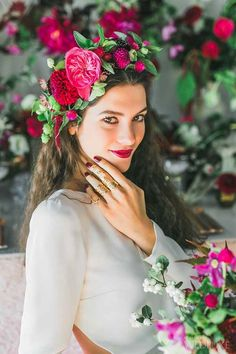 Crown Jewels - WedLuxe Magazine - - With inspiration taken from Frida Kahlo and Georgia O'Keeffe, this decidedly vibrant styled shoot does not shy away from bold blooms in hot hues! Bridesmaid Headband, Headpiece Wedding, Bridal Headpieces, Boho Headpiece, Flower Headpiece, Floral Hair, Floral Crown, Dusty Rose Hair, Flower Crown Wedding