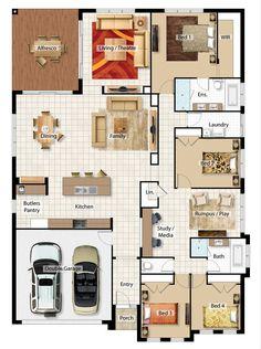 Pinterest: @claudiagabg | Casa 3 cuartos 1 sala de tv 1 estudio abierto 1 estudio cerrado