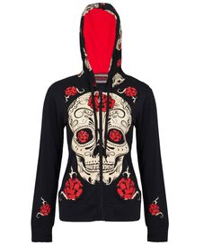 Women Black Sugar Skull Roses Tattoo Hoodie Rockabilly Metal Punk Emo Goth New #Hoodie