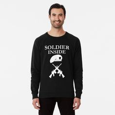 'Soldier Inside - ready for war - ' Lightweight Sweatshirt by RIVEofficial Stylish Shirts, French Terry, Invite, Vintage Inspired, Graphic Sweatshirt, Trends, Group, Sweatshirts, Board