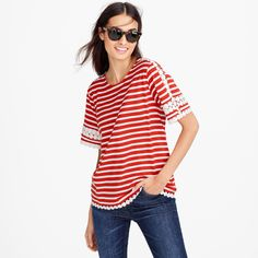 J crew red striped shirt with white lace