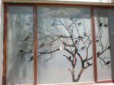 Tree with birds sandblast design Glass Partition Designs, Glass Etching Stencils, Room Door Design, Window Film, Room Doors, Modern Interior Design, Glass Door, Wall Stickers, Diy Projects