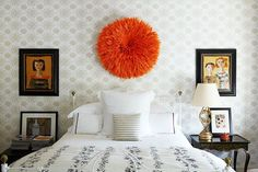 7 Clever Ways To Spruce Up The Wall Above Your Bed #refinery29  http://www.refinery29.com/one-kings-lane/23#slide-4  The 3-D PieceA sculptural piece of wall decor is one of the more unexpected routes for above the bed, which is why it's the most likely to feel fresh and playful. The overall effect will vary depending on the size and color of the piece you choose, but if you're worried the item isn't big enough to anchor the entire wall, center it above the bed and find a few flanking items…