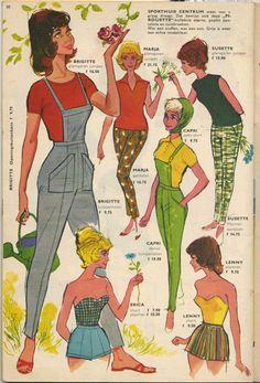 Brigitte, Marja, Susette, Capri, Erica and Lenny. From the summer camping catalog of 1961
