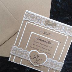 Rustic Vintage Wedding Invitation, RSVP & Insert. Lace And Diamante Sample
