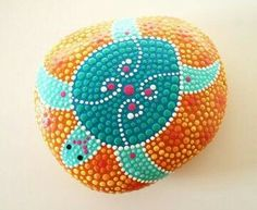painted rock with turtle design