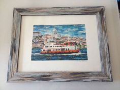 CACILHEIRO / Framed Art Print from the original collage artwork / photo of the Cacilheiro art print framed and sent to us by a lovely customer! Collage Artwork, Lisbon, Framed Art Prints, Boats, Portugal, Landscapes, Gallery, Artist, Collection