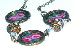 BOHO Hand Paint Pendant Necklace Antique by GoddessArtCollection