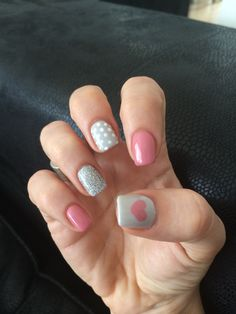 dove grey • dusky pink • white polka dots, hearts and glitter ♥ shellac acrylics by Laura at Model Me, Southport