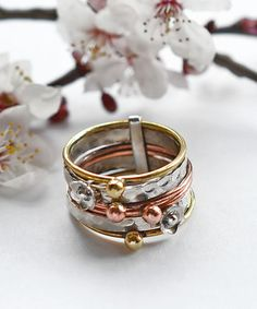 Sterling Silver Mixed Metal Floral Stacking Ring by Martha Jackson Sterling Silver, the perfect gift for Explore more unique gifts in our curated marketplace. Diamond Stacking Rings, Rose Gold Diamond Ring, Gold Diamond Wedding Band, Rose Gold Engagement Ring, Vintage Engagement Rings, Vintage Rings, Silver Rings, Diamond Jewelry, Gold Jewelry
