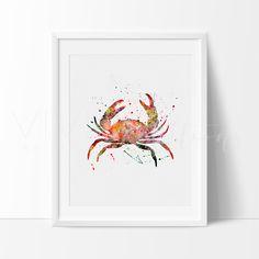 Crab Nautical Watercolor Art Print Wall Decor