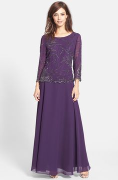 J Kara Beaded Chiffon A-Line Gown | Nordstrom