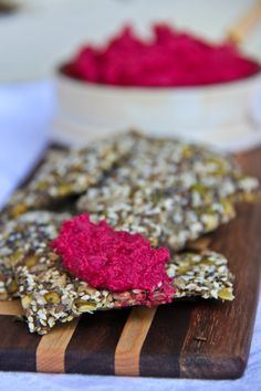 Multi-seed Crackers with Beet Hummus