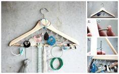 Clothing Hanger / 25 Clever DIY Ways To Keep Your Jewelry Organized (via BuzzFeed)