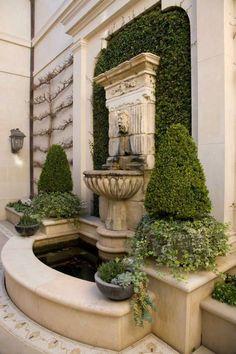Landscaping With Fountains, Backyard Landscaping, Outdoor Wall Fountains, Water Fountains, Landscape Design, Garden Design, Patio Design, Garden Club, Big Garden