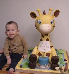 Drew's Giraffe Cake by valscustomcakes, via Flickr