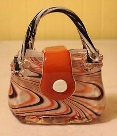 murano glass purse vases | Details about VINTAGE MURANO ART GLASS PURSE FLOWER VASE HAND BLOWN ...