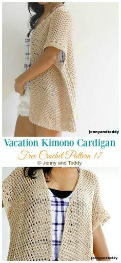Crochet Blusas Patterns The Vacation Kimono Cardigan Crochet Free Pattern - Women Kimono Crochet, Black Crochet Dress, Crochet Jacket, Crochet Cardigan, Crochet Shawl, Crochet Vests, Crochet Sweaters, Crochet Tops, Free Crochet Sweater Patterns