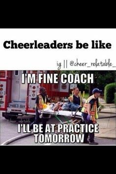 That was me when we were first stunting and my flyer when she cradled he flew back and I guess elbowed me in the leg but coach was more concerned about my chest cause that's where I caught her but I was fine except for the rest of the week I was limping FYI I'm backspot but I still did the stunt over and over with my group true story
