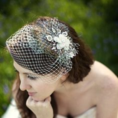 FEATHER FASCINATOR  Mint green French netting French by AncaPeelma, $120.00