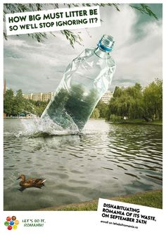 How big must litter be so we'll stop ignoring it! Water Bottle