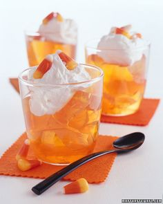 Inspired by the colors of candy corn, this gelatin snack will satisfy little goblins before any mischief begins.