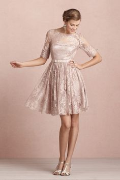 Tea Rose Dress in SHOP The Bride Reception Dresses at BHLDN. Listed as a reception dress but I think it could be lovely as a wedding dress for a non-traditional wedding! Patterned Bridesmaid Dresses, Winter Bridesmaid Dresses, Winter Bridesmaids, Lace Bridesmaid Dresses, Wedding Bridesmaids, Vintage Inspired Wedding Dresses, Vintage Dresses, Vintage Lace, Vintage Style