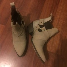 Tan leather booties Made in Spain. Very comfortable worn once (just too small for me). Real leather To be announced  Shoes Ankle Boots & Booties